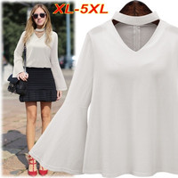 Spring Autumn Plus Size XL-5XL Women Blouse Loose Chiffon Shirt Halter Tops Hollow Out Flare Sleeve Casual Top White Shirt T6517