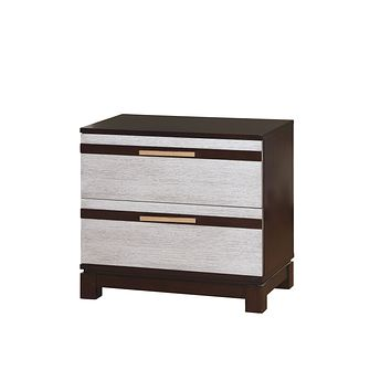 Cartier Contemporary Style Silver, 2-Drawer Nightstand
