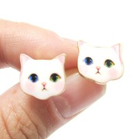 Adorable White Odd-eyed Kitty Cat Face Shaped Stud Earrings | Animal Jewelry
