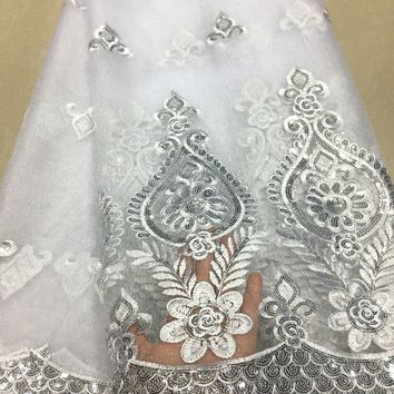 Latest African Lace 2018 White lace Fabric High Quality Sequins Embroidery Lace Trim African Dress French Mesh Tulle Lace KYX01C