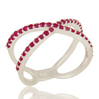 925 Sterling Silver Natural Ruby Gemstone Cluster Criss-Cross Knuckle X Ring