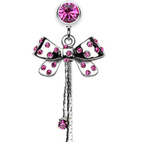 Glistening Polka Dots Bow-Tie Belly Button Ring