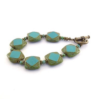 Bracelet Czech Turquoise Picasso With Antique Brass