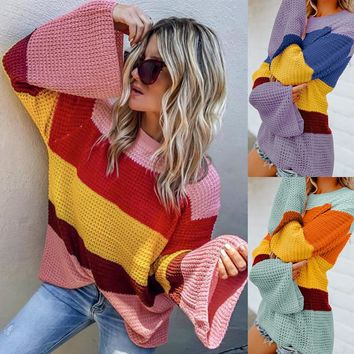 Women's Fashion 3-color Patchwork Long Sleeve Pullover Sweater [1890289483873]