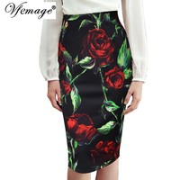 Vfemage Womens Autumn Elegant Rose Leaf Flower Floral Printed High Waist Casual Party Bodycon Pencil Skirt 4271