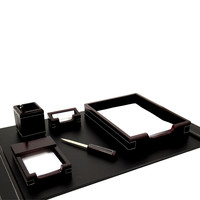 6 Piece Desk Set, Wood & Black Leather