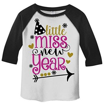 Shirts By Sarah Girl's Little Miss New Year T-Shirt Year's Party Hat 3/4 Sleeve Tee