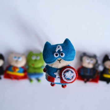 Miniature captain America, Plushie felt superhero, Soft Stuffed Toy,  pretty miniature super cat, Felt Miniature cat,  toys in the clothes