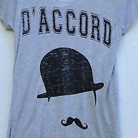Zoe Karssen D'Accord Derby Mustache Gray Short Sleeve Tee Top NWOT Extra Small