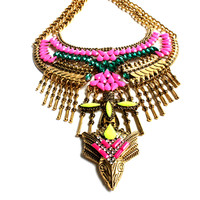 """Zena"" Gold Jeweled Necklace"