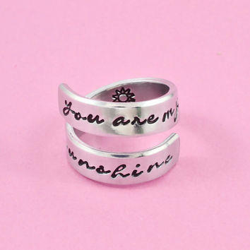 you are my sunshine - Hand Stamped Aluminum Spiral Ring, Mother Daughter Ring,Ring for Kids, Childs Ring, Handstamped  Personalized Jewelry,