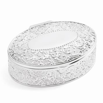 Silver-plated Hinged Lid Floral Oval Jewelry Box - Engravable Gift Item