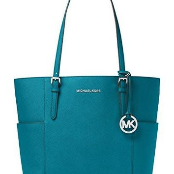Michael Kors Women's Large Jet Set Travel Leather Top-Handle Tote