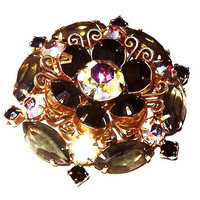 "Black Floral Cluster Brooch Smoke AB Rhinestones Gold Metal Layered 2"" Vintage"