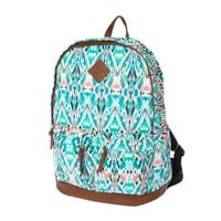 Teal Aztec Print Backpack