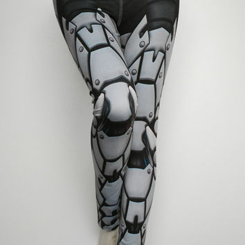 Bionic Leggings - Size L Light Grey - Printed Metal Robot Tights