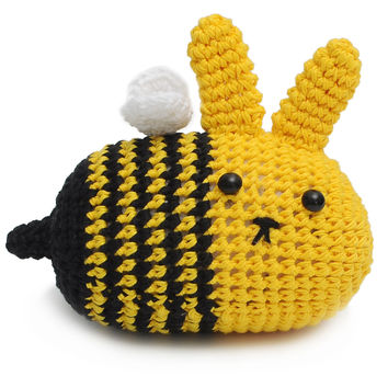 Yellow-Brown Bunnies Handmade Amigurumi Stuffed Toy Knit Crochet Doll VAC
