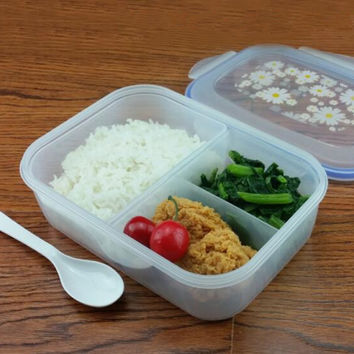 High Quality 1000ml Lunch Box Healthy Plastic 3 cell Bento Boxes Food Container Microware oven LunchBox