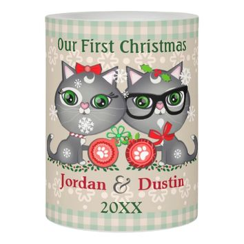 Custom Rustic Hipster Cats 1st Christmas Candle Flameless Candle
