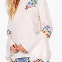 Alice Applique Flare Sleeve Top | Boohoo