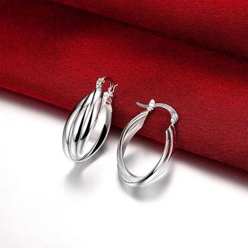 New Women Fashion Jewelry 925 Silver Sterling Small Dangle Hoop Hook Earrings