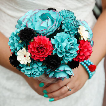 FEATURE ON Offbeat Bride - Teal, Red and Black Rock and Roll Inspired Handmade Paper Flower Wedding Bouquet - Custom Colors