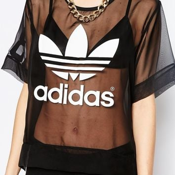 adidas Originals Sheer Woven T-Shirt With Trefoil Logo at asos.com