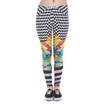 Cat Printed Colorful Hypnotic High Waist Aztec Leggings