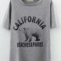 California Beaches and Parks Graphic Print Grey T-Shirt