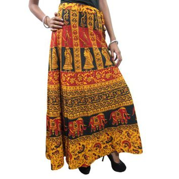 Mogul Women's Wrap Around Skirt Yellow Animal Printed Long Maxi Beach Wrap Skirts - Walmart.com