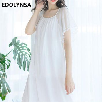 DCCKL3Z Nightgowns Sleepshirts 2017 Elegant Home Dress Sexy Sleepwear Lace Women Sleep & Lounge Loose Nightdress Solid Nightgown #H255