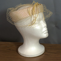 Vintage 1950's Cream Halo Hat with Goose Feathers Made In USA