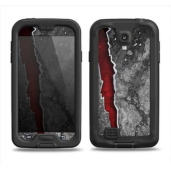The Cracked Red Core Samsung Galaxy S4 LifeProof Fre Case Skin Set