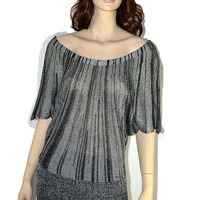 XL Gray/Black Off Shoulder Knit Top Lightweight Acrylic Dolman