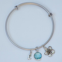Personalized Flower Natural Birthstone charm adjustable expandable gold or silver bangle bracelet - letter, initial, sea animal charm