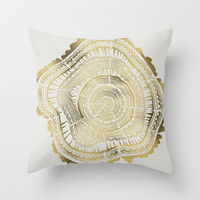 Gold Tree Rings Throw Pillow by Cat Coquillette