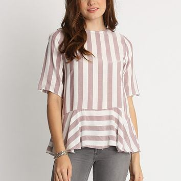 Sweet Time Stripe Peplum Top | Ruche