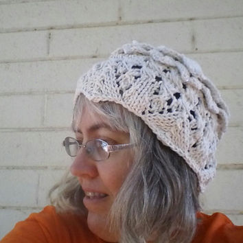 Lace & Crocodile Scale Sun Cloche featuring Knit Madeira Lace, Broomstick Lace, and Crochet Scales with Facet Beads
