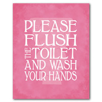 Bathroom Wall Art - Typography Art Print - Please flush the toilet and wash your hands - Toilet silhouette - kid's bathroom wall art