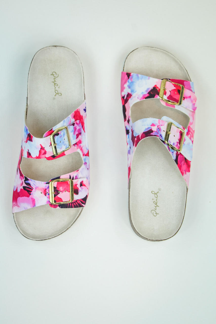 Web exclusive floral print sandals in from entourage clothing web exclusive floral print sandals in pink multi mightylinksfo