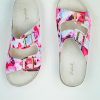 Web Exclusive: Floral Print Sandals in Pink Multi