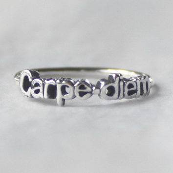 Carpe diem Ring 'Seize the day' , Sterling silver stacking ring with Inspiring words
