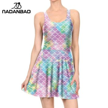 NADANBAO New Summer Colorful Mermaid Pleated Women  Fish Scales Dress Sleeveless O-neck Sexy Skater Women Dress