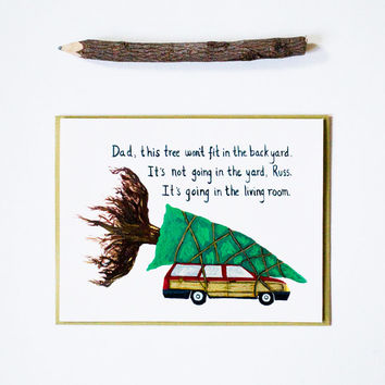 National Lampoon's Christmas Vacation card, clark griswold car tree