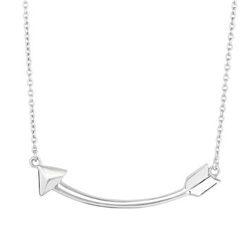 Silver Rhodium Finish 9-1.4mm Shiny Arrow Element Anchor On 1.4mm Cable Link Fancy Necklace with Lobster Clasp