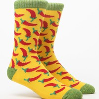 """New"" Socks Red Chili Peppers Crew Socks - Mens Socks - Yellow - One"