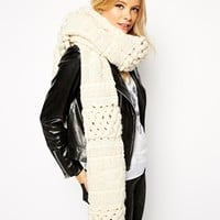 ASOS Oversized Open Lattice Cable Scarf at asos.com