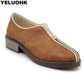 Large Size 43 Spring Oxford Shoes For Women Leather Shoes Women Flats Casual Platform Shoes Women