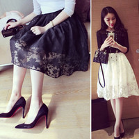 Women Double Layer Flower Print Skirts of Lace Elastic Waist Party Shorts