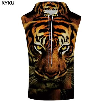 KYKU Tiger Sleeveless Hoodie Men Funny Singlets Animal Stringer Hooded Coat Shirts Mens Clothing Casual Funny Rock